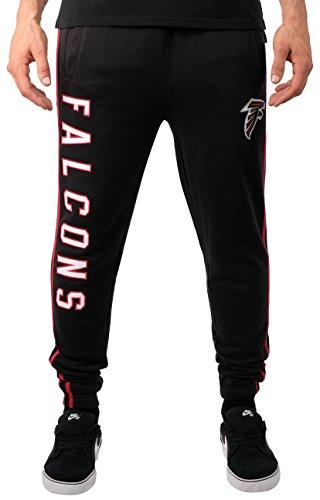 Ultra Game Men's NFL Jogger Pants Active Basic Fleece Sweatpants, Atlanta Falcons, Team Color Stripe, Medium