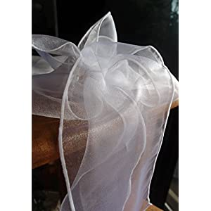 """Dexon Power White Organza Chair Sashes 9"""" Wide (Pack of 10) 59"""