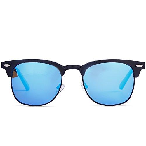 49a1eb47ed Blue Dollger Classic Polarized Clubmaster Sunglasses Horn Rimmed Half Frame  …