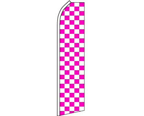 ALBATROS Pink with White Checkered Swooper Super Feather Advertising Flag for Home and Parades, Official Party, All Weather Indoors Outdoors ()