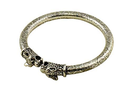 Indian Vintage Ethnic Antique Aged Oxidized Silver Rajasthani Hasli Bangle/Anklet Bracelet Kada with Motifs for Women and Girls (Tiger)