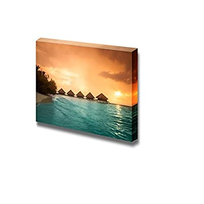Canvas Prints Wall Art - Over Water Bungalows with Steps into Amazing Green Lagoon - 16