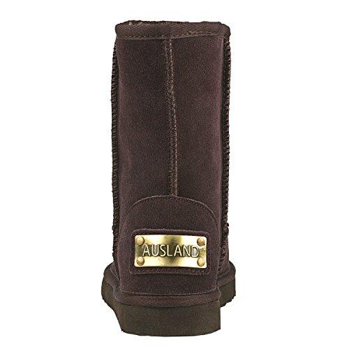 Clásicos Media Mujer De Impermeable Antideslizante Botas Para Chocolate Shenduo D5125 Zapatos Piel Pierna Invierno Nieve TqESBpSw
