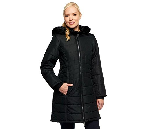 Susan Graver Puffer Coat Remove Faux Fur Trim Hood Solid Black S New A238115 - Exclusive Stand Collar Jacket
