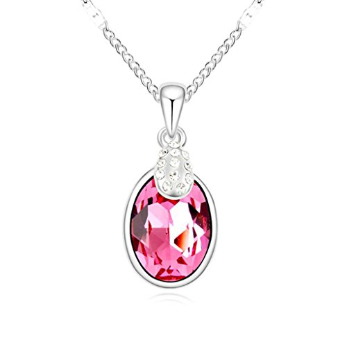 AmDxD Jewelry Alloy Pendant Necklaces for Women Oval Rose Red 2.6X1.2CM (Madonna Material Girl Fancy Dress)