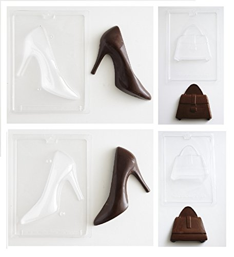 Front Mold Candy ((4 Molds) Large 3D Purse Handbag High Heel Shoe Chocolate Candy Mold Set - (1) Large High Heel Mold Front Back (1) Large Purse Mold Front Back)