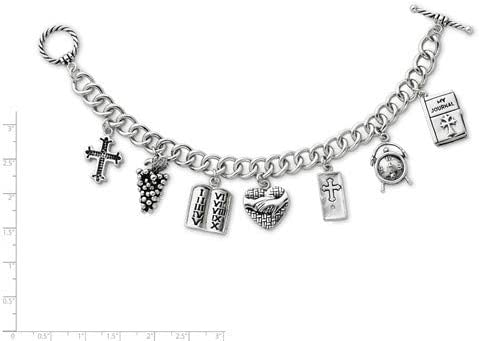 Antiqued Rhodium-Plate Sterling Silver Answered Prayer Cross Locket Charm Bracelet 7.5