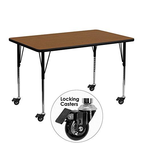 Flash Furniture Mobile 24''W x 48''L Rectangular Oak HP Laminate Activity Table - Standard Height Adjustable ()