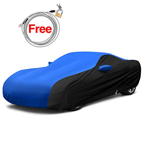 KAKIT 2005-2013 C6 Car Cover Waterproof Chevy Corvette Z06 Car Cover Custom Fit UV Protection Windproof (Blue & Black)