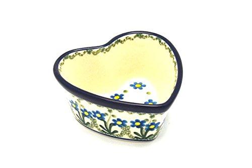 - Polish Pottery Ramekin - Heart - Blue Spring Daisy