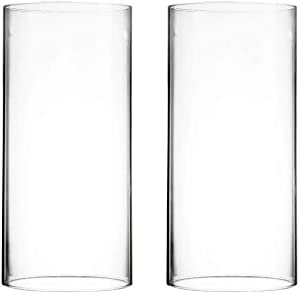 "CYS EXCEL Various Size Hurricane Candleholders, Chimney Tube, Glass Cylinder Open Both Ends, Open Ended Hurricane, Glass Shade Candle Holders Set of 2 (4.75"" Wide x 10"" Tall)"