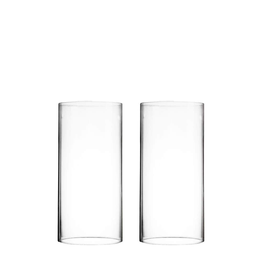 CYS EXCEL Various Size Hurricane Candleholders, Chimney Tube, Glass Cylinder Open Both Ends, Open Ended Hurricane, Glass Shade Candle Holders Set of 2 (4.75'' Wide x 10'' Tall)