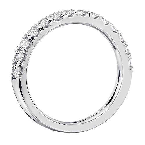 0.55 CT TW Pave Set Diamond Anniversary Wedding Ring in 14k White Gold