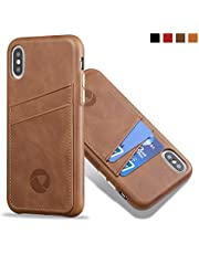 Luckycoin iPhone Leather Cases Sleek Vintage Full Grain Leather Phone Cover Handcrafted Snap on Casse with Protective Metal Buttons with Card Holder