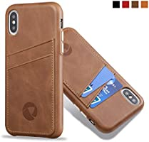 Luckycoin iPhone Leather Cases Sleek Vintage Full Grain Leather Phone Cover Handcrafted Snap on Casse with Protective...