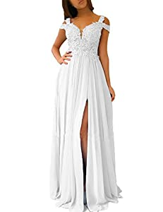 Women's A-line Evening Gowns Cap Sleeves Lace Appliqued Long Formal Party Prom Dresses with Slit