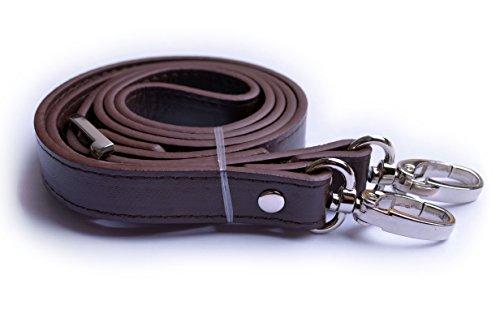Wento 1pcs 43''-49'' Pu Dark Brown Leather Adjustable Bag Strap,soft Leather Shoulder Straps,replacement Cross Body Purse Straps,handbag Bag Wallet Straps (Silver)