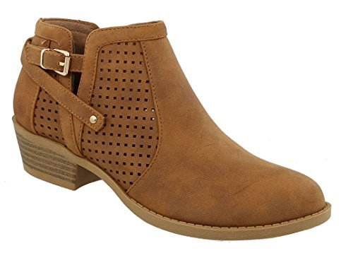 MVE Shoes Women's Faux Leather Ankle Bootie - Pointed Toe Stacked Block Low Heel - Classic Women, tan Size 8