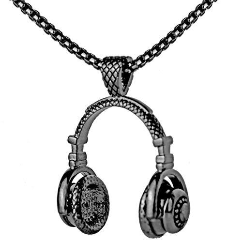 Price comparison product image Alexsix Necklace, Men Necklace Vintage Stainless Steel Headphone Necklaces Pendant(Black)