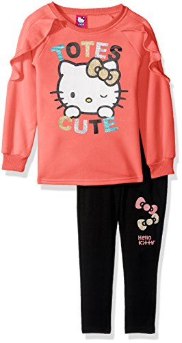 Hello Kitty Toddler Girls' 2 Piece Long Sleeve and Legging Set, Coral, 2T