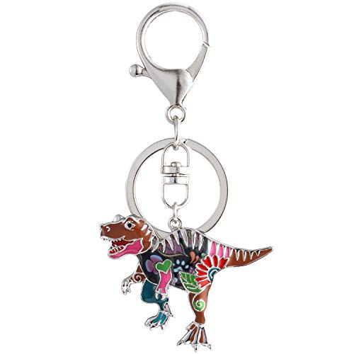 Luckeyui Multicolor Dinosaur Keychains for Women Unique Enamel Tyrannosaurus Rex Keyring Holiday -