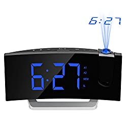 Mpow [GEN-2] Projection Alarm Clock, Curved-Screen Projection Clocks with 5 Inch Dimmer LED Display, Digital Clock Radios for Bedroom, Dual Alarms with 30 Minute Ring Time, 12/24 Hour, Backup Battery
