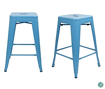 Set of 4 Milani Metal Bar Stools 24 Blue Stack-able, Indoor Outdoor Use, Kitchen Bar Stools, Patio stools, Industrial, Galvanized Steel Counter Stools