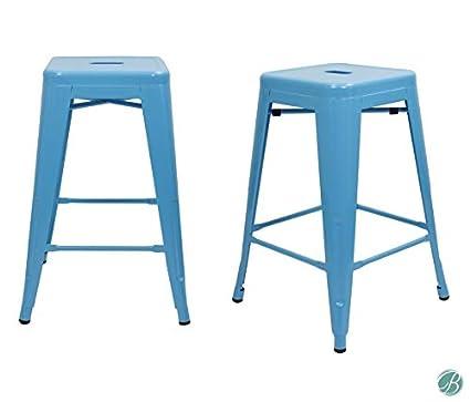 Astounding Amazon Com Set Of 2 Metal Bar Stool 24 Milani Light Blue Machost Co Dining Chair Design Ideas Machostcouk