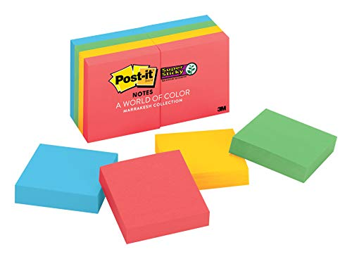 Post-it Super Sticky Notes, 2x Sticking Power, 2 in x 2 in, Marrakesh Collection, 8 Pads/Pack (622-8SSAN)