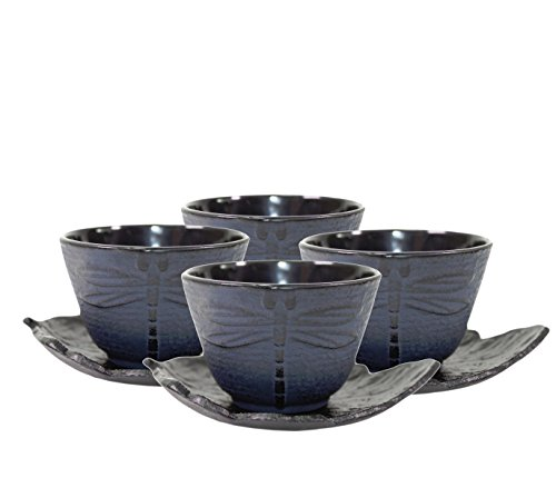 4 Black Tea Saucers and 4 Blue Dragonfly Cast Iron Teacups Hobnail Dot Japanese Styel ~ We Pay Your Sales Tax