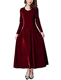 Urban CoCo Women's Elegant Long Sleeve Ruched Velvet Stretchy Long Dress