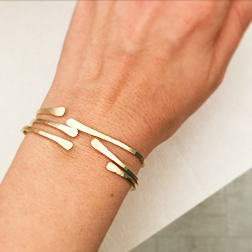 Gold Filled Bangle Set Of 3 Bracelets, Handmade Designer Boho Jewelry by LirMizrahi