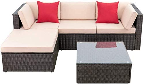 Devoko 5 Pieces Patio Furniture Sets All Weather Outdoor Sectional Sofa Manual Weaving Wicker Rattan Patio Conversation Set