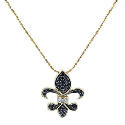 Olivia Paris 14k Yellow Gold 1/4 Carats cttw Black Diamond Fleur De Lis Pendant Necklace, ()
