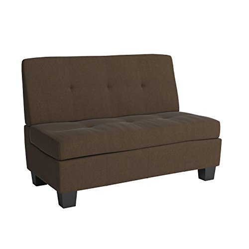Butler Microfiber Upholstered Tufted Padded Hinged Storage Ottoman Bench, 48-inch Loft-size, Microfiber Suede Chocolate Brown