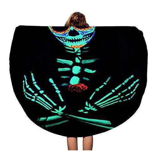 Pinbeam Beach Towel Young Girl Santa Muerte Saint Death Sugar Skull Travel 60 inches Round Tapestry Beach Blanket -