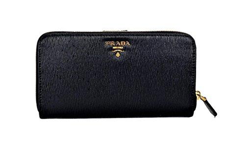 Prada Womens 1ML348 2EZZ Vitello Move Leather Wallet Nero (Black)