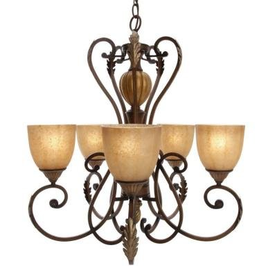 Hampton Bay 17022 Chateau Deville 5-Light Walnut (Bay Five Light Chandelier)