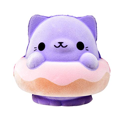 Lefthigh 1PC Squeeze Jumbo Toy, Purple Cat Slow Rising Furry Squishies Toy Squishes Stress Relief Toy for -