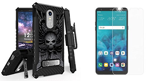 BC Military Grade [MIL-STD 810G-516.6] Kickstand Belt Holster Case (Skull Wings) with Bubble-Free Tempered Glass Screen Protector, Atom Cloth for LG Stylo 4+ Plus/LG Stylo 4 (2018)