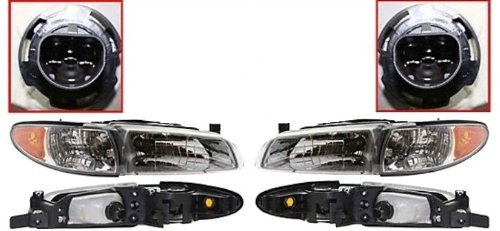This is a Brand New Aftermarket Passenger & Driver RH & LH Side Headlight Pair Fits 1997-2003 Pontiac Grand Prix SE/GT/GTP 6Cyl 3.1L/3.8L by Discount Starter & Alternator (2003 Pontiac Grand Prix Gtp compare prices)