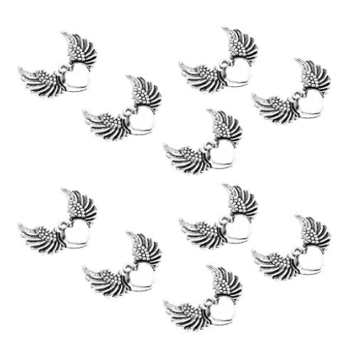 10pcs Wings of Love Heart Pendant Angel Charms for Crafting Jewelry Making (The Pulse Of Allah)