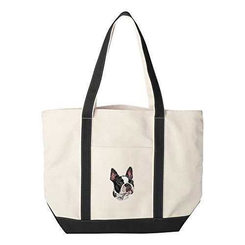 - Cherrybrook Dog Breed Embroidered Canvas Tote Bags - Black - Boston Terrier