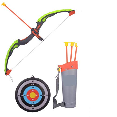 Cable World® Sports Super Archery Bow and Arrow Set with Dart Target Board, Colourful with 3 Suction Cup Tip Arrows