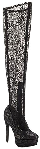 Boot Lace Over Black 4 Knee Up Lust Sexy Dress Life Lace The LFL Womens Pico xnSw8OqxWz