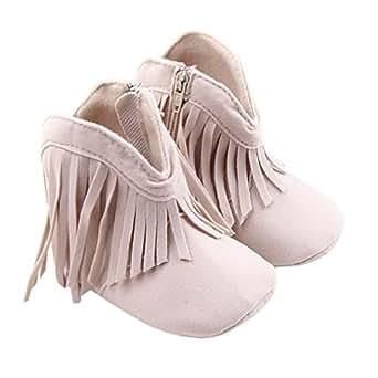 Binmer(TM) Infant Newborn Baby Girl Toddler Shoes Soft Sole Boots Prewalker Tassel (0~6 Month, Beige)