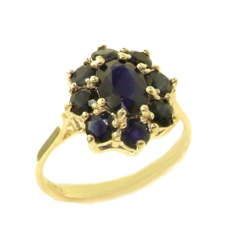 14k Yellow Gold Natural Sapphire Womens Cluster Ring - Sizes 4 to 12 Available 14k Yellow Gold Natural Sapphire