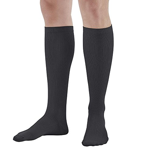 Ames Walker AW Style 166 Men's Travel 15 20mmHg Moderate Compression Knee High Socks Black Large Gradient Compression Promote venous Blood Flow Prevent Leg Swelling and discomfort