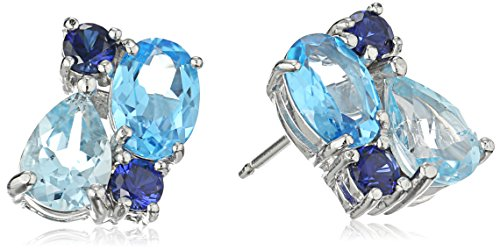 Sterling Silver Genuine Blue Topaz and Created Blue Sapphire Cluster Stud Earrings Round Prong Set Cluster Earrings