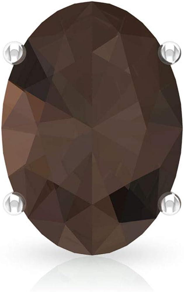 Pendiente de cuarzo ahumado de 2.2 ct, forma ovalada, solitario, para mujer, certificado SGL, con piedras preciosas, para fiestas, declaración de oro, para novia, tornillo hacia atrás